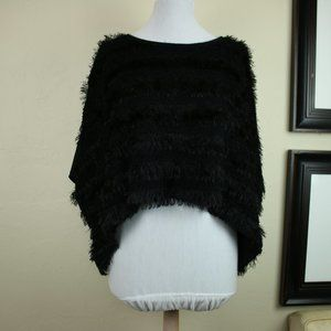 Cleo Faux Fur Ruffle Black Shrug Poncho